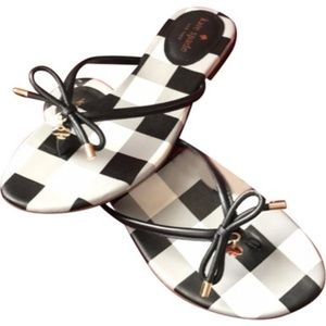 Kate Spade Black and White GinghamThong Sandals